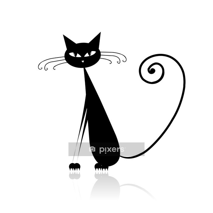 Muursticker Grappige zwarte kat voor uw ontwerp - Zoogdieren