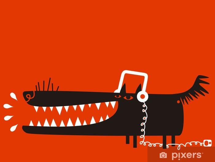 Sticker Pixerstick Loup avec un casque écoute de la musique - Thèmes