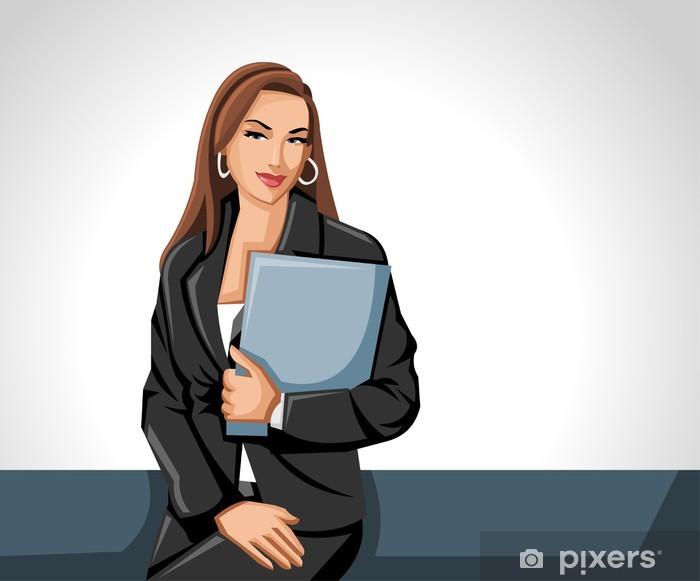 Nálepka Pixerstick Obchodní žena drží papír soubor - Lidé v práci