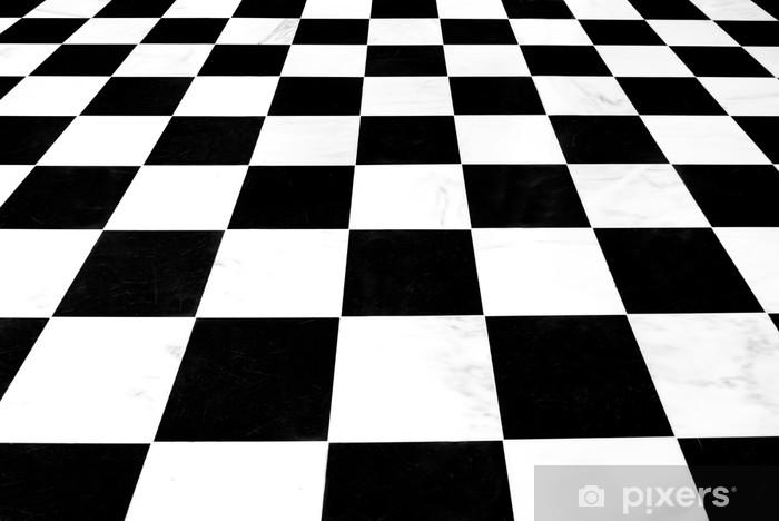 Wonderlijk Fotobehang Zwart-wit geblokte linoleum vloer terugwijkende IY-28