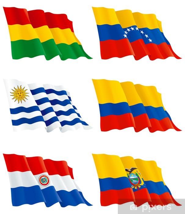 Fotomural Estándar Flags Venezuela, Bolivia, Paraguay, Colombia, Ecuador, Uruguay - Europa