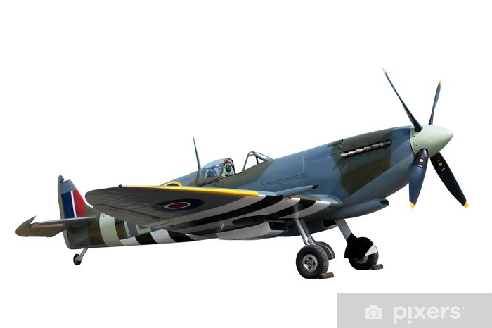 beautifully restored vintage WW2 Spitfire isolated on white Vinyl Wall Mural - Themes