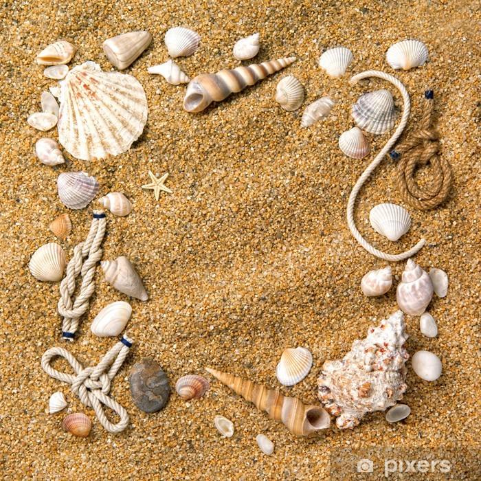Nálepka Pixerstick Rám z různých mušle na písku - Prázdniny