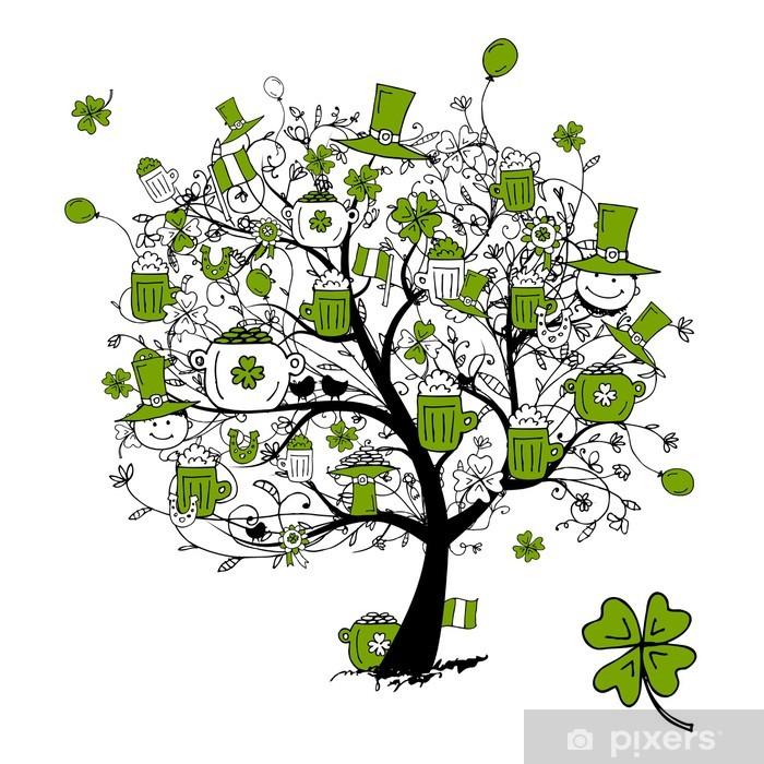 Fototapeta winylowa Dzień Świętego Patryka, drzewo rysunek z kufli do projektowania - Świętowanie