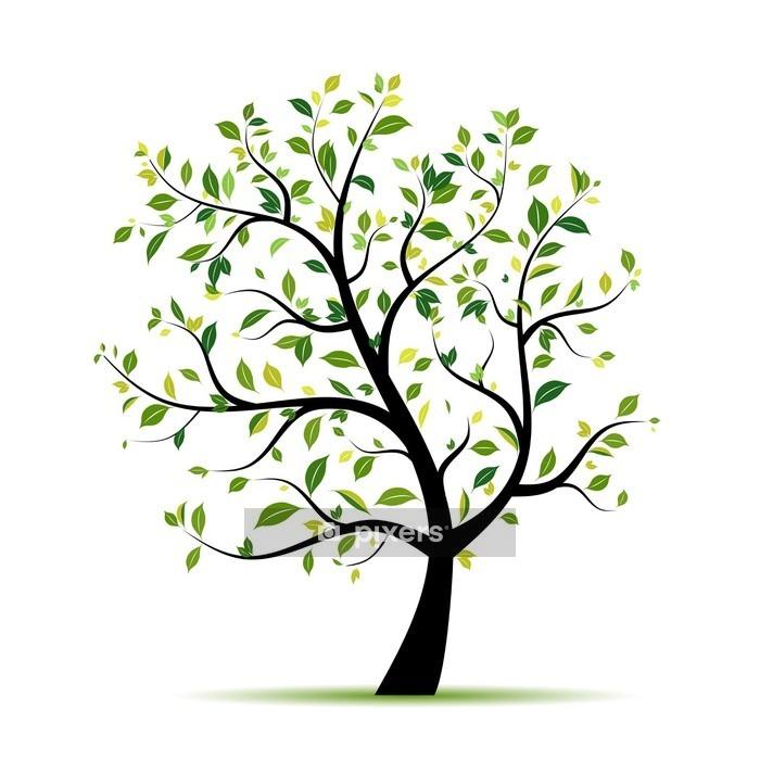 Vinilo para Pared Primavera verde árbol para su diseño - Vinilo para pared