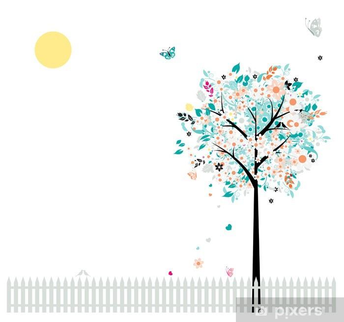 Çıkartması Pixerstick Tasarım için güzel çiçek ağaç, çit kuşları - Mevsimler