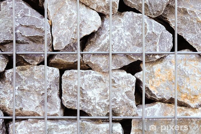 Naklejka Pixerstick Naturalny kamień, ściany, gabiony, kamień gruz, kosz z siatki drucianej - Przemysł ciężki