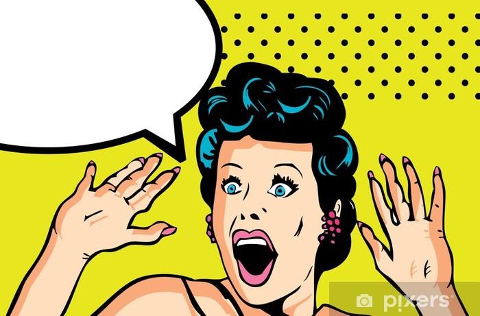 Fototapeta winylowa Ilustracja wektora komiks miłość twarzy zaskoczony kobieta - Tematy
