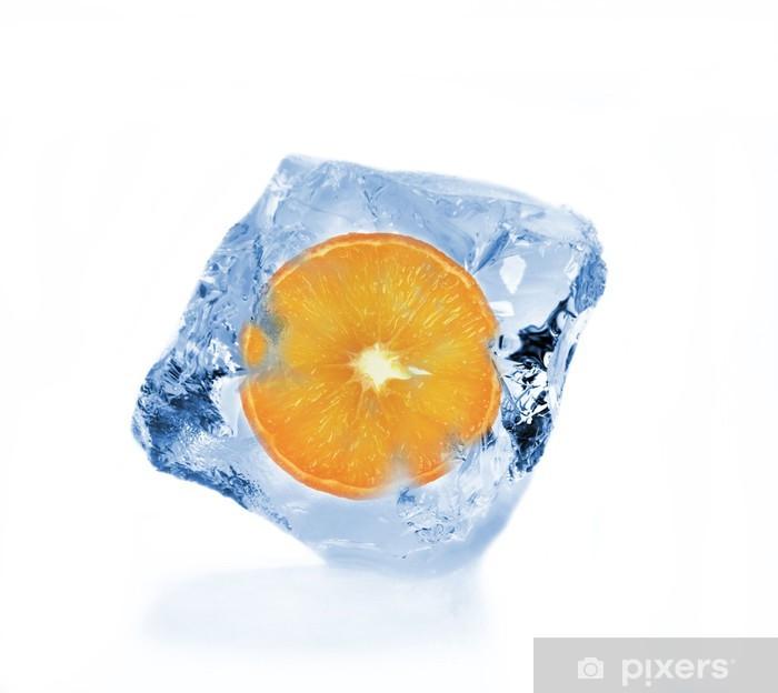 Sticker Pixerstick Tranche d'orange en cube de glace - Accessoires