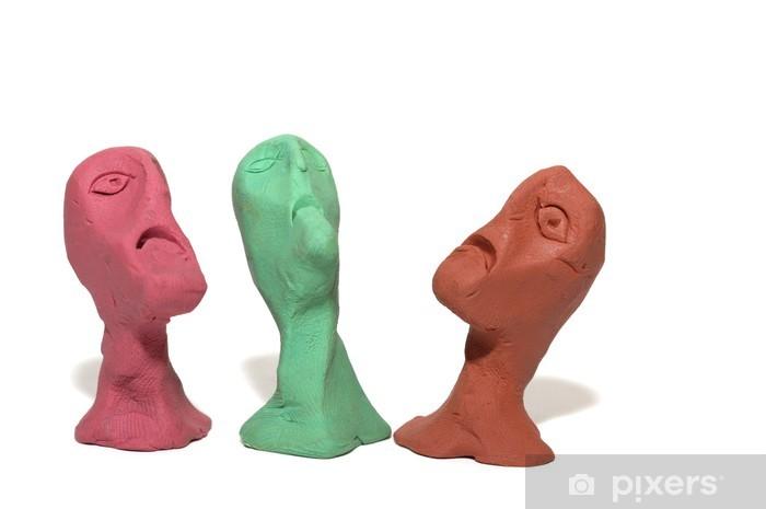 Nálepka Pixerstick Muži drobet ošklivé tváře vyrobené z plastelíny - Smutek