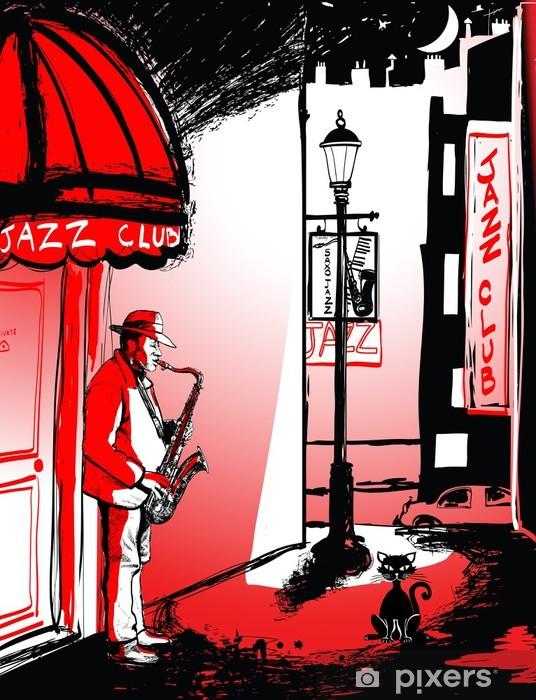 Fotomural Estándar Saxofonista en una calle de noche - Jazz