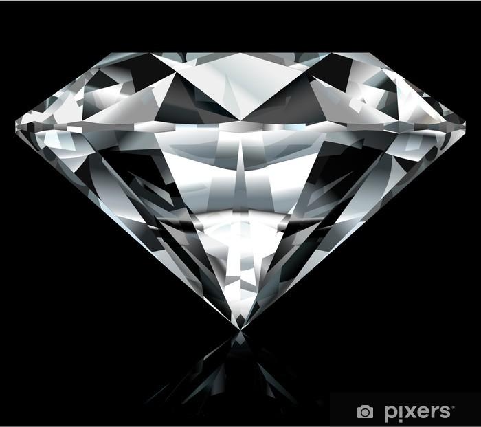 Naklejka Pixerstick Realistyczne ilustracji diamentu na czarnym tle - Moda