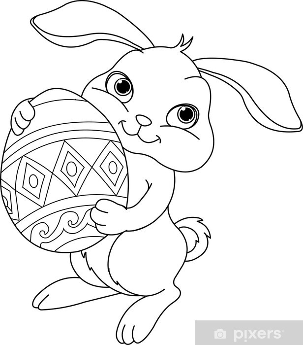 Easter Bunny. Coloring Page Wall Mural • Pixers® - We Live To Change