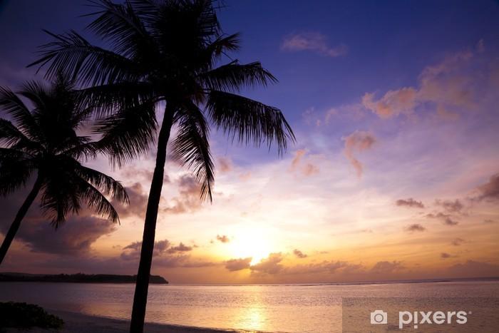 Papier peint vinyle Magnifique coucher de soleil sur la plage tropicale et de cocotiers - Eau
