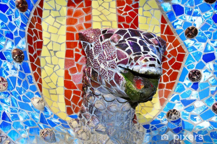 Pixerstick Aufkleber Detail der Park Güell, Barcelona, Spanien - Europäische Städte