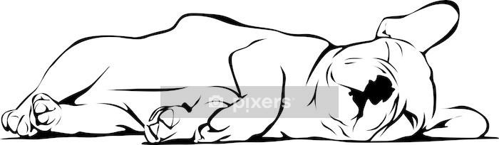 Muursticker Franse Bulldog baby Slapen - Muursticker