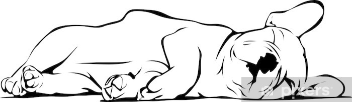 Autocolante Pixerstick French Bulldog Baby Sleeping - Decalque de parede