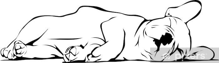 Nálepka Pixerstick Francouzský buldoček dítě spí - Nálepka na stěny