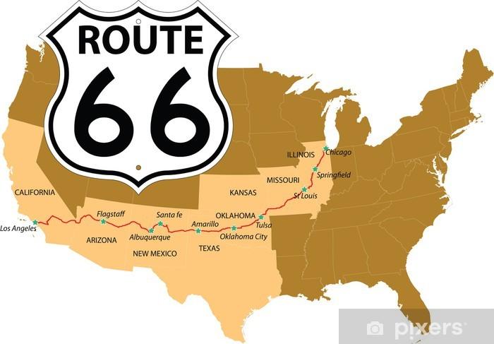 Pixerstick Sticker Route 66 - Amerika