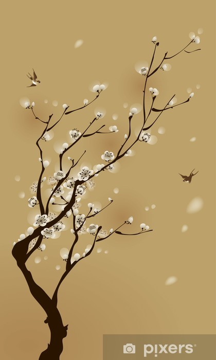 oriental style painting, plum blossom in spring Pixerstick Sticker - Styles