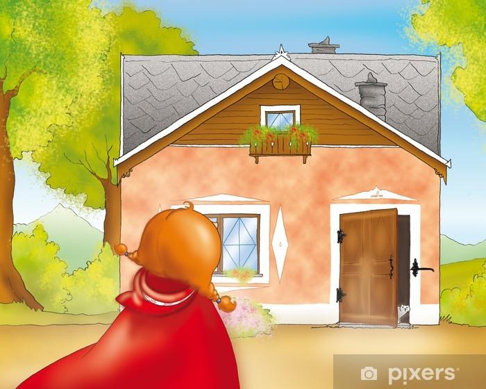 Fototapeta winylowa Czerwony Kapturek przybywa domu babci - iStaging
