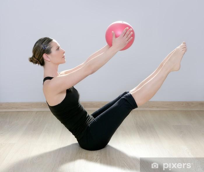 Naklejka Pixerstick Pilates stabilności kobiety joga siłownia piłka gimnastyczna - Zdrowie
