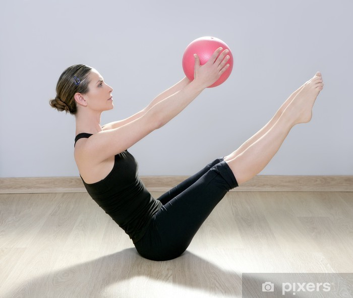 pilates woman stability ball gym fitness yoga Vinyl Wall Mural - Health