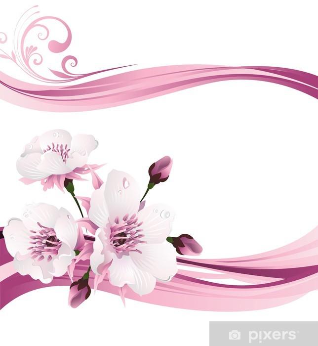 Duvar Resmi Oryantal Tarzı Boyama Ilkbaharda Kiraz çiçeği Vinil