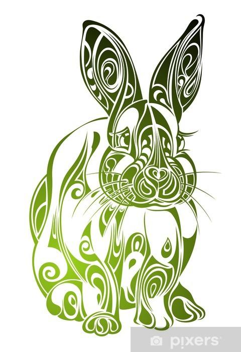 Vinyl-Fototapete Easter Rabbit. Tattoo-Design - Kaninchen
