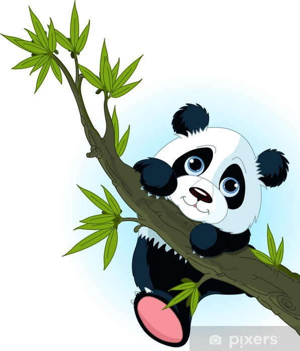 Fotomural Estándar Panda gigante de escalada árbol - Mamíferos