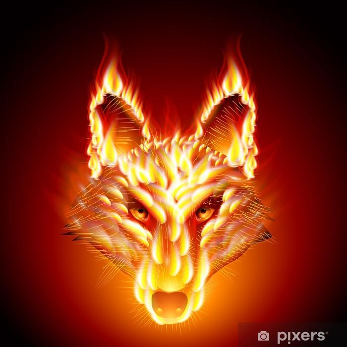 Naklejka Pixerstick Fiery ogier. Wilk - Ssaki