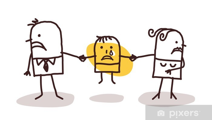 Fotomural Estándar Divorciarse pareja con niño triste - Vida familiar