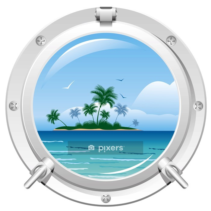 Porthole with sea view Wall Decal - Trees and leaves