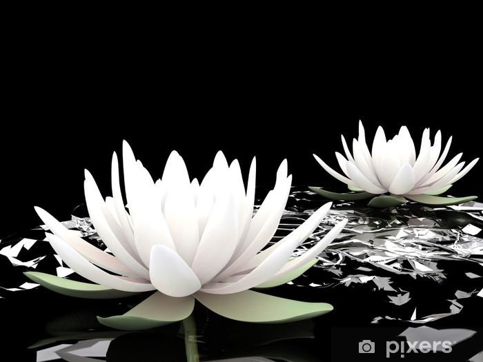3d lotus on water Pixerstick Sticker - Styles