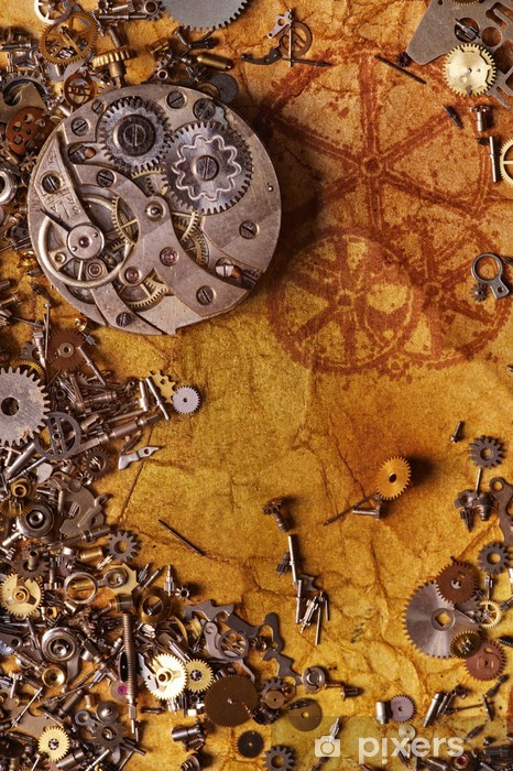 The old gears on the textured paper Vinyl Wall Mural - Styles