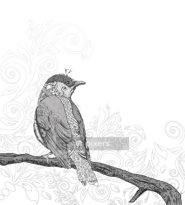 Käsin piirretty lintu haarassa. Seinätarra -