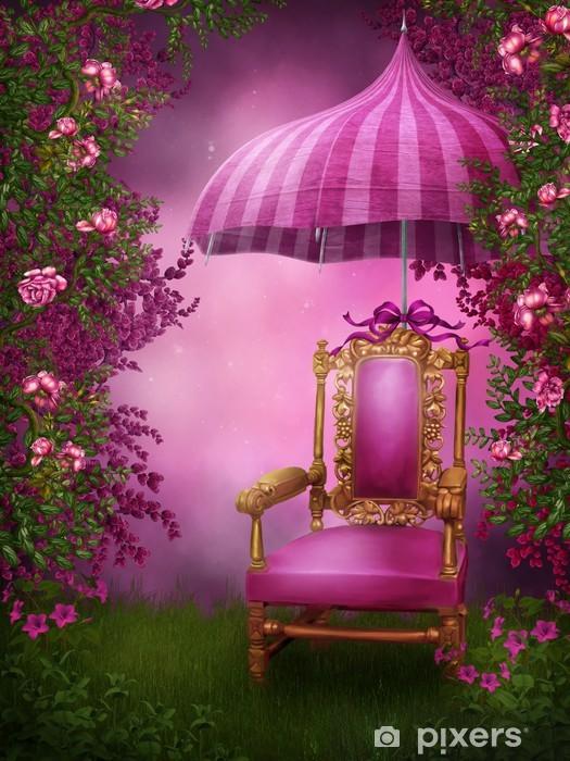 Papier peint vinyle Różowy ogród z krzesłem i parasolem - Autres