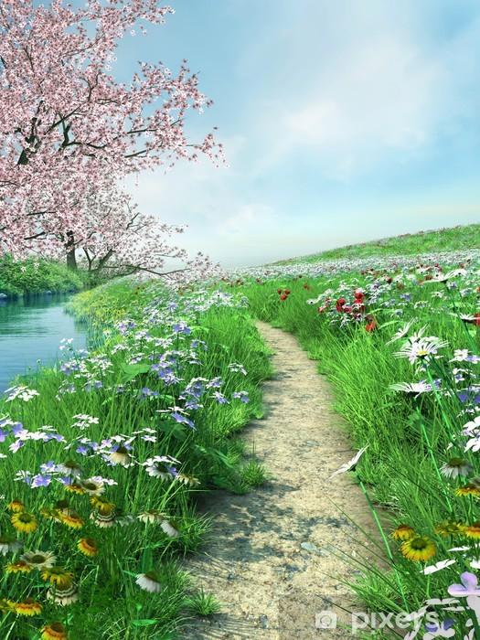 Ścieżka nad rzeką na wiosennej łące Pixerstick Sticker - Themes