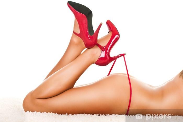 Sticker Pixerstick Jambes de la femme en talons jouant avec des culottes - Sous-vêtements