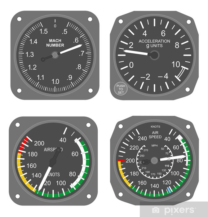 Aircraft instruments set #3 Sticker - Pixerstick