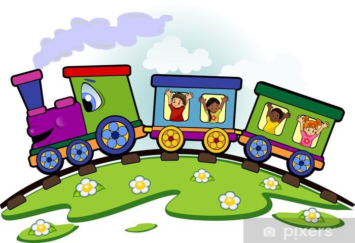 Fotobehang Speelgoed Trein Met Kinderen Pixers We Leven Om Te