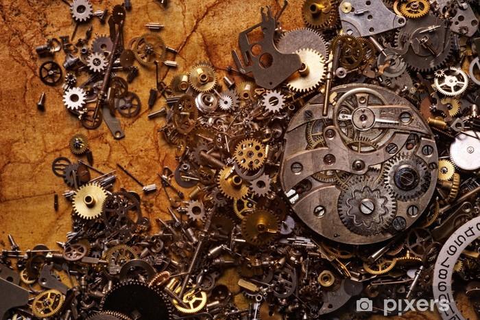 Pixerstick Aufkleber Die alten Zahnräder auf der strukturiertes Papier - Stile