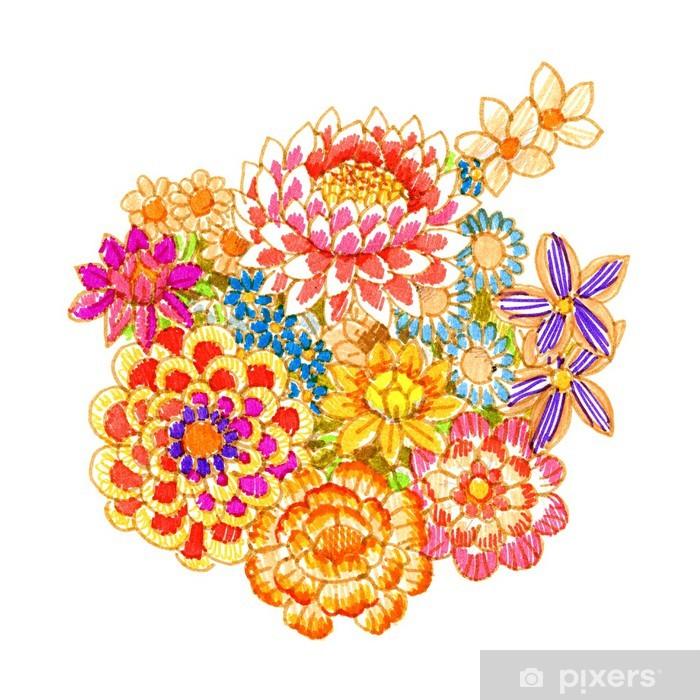 bouquet of fancy flowers, felt-tip pen Vinyl Wall Mural - Art and Creation