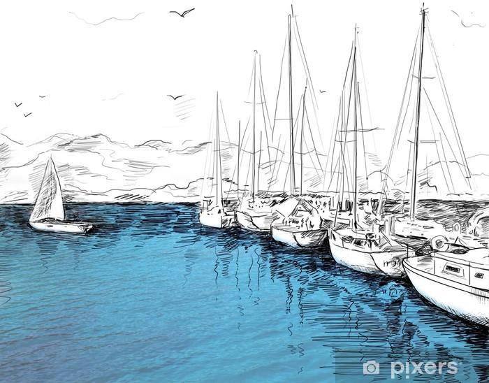 Fototapeta winylowa Jachty żaglowe i ilustracji łódź - Wakacje