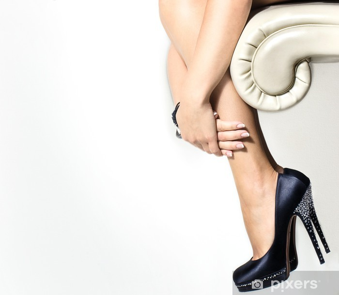 Woman's leg and high heel shoes Vinyl Wall Mural - Themes