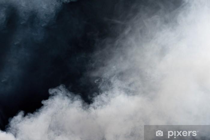 Pixerstick-klistremerke Hvit røyk på svart bakgrunn. Isolert. -