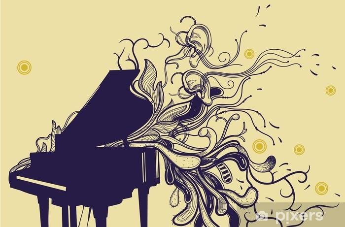 Papier peint vinyle Vecteur piano à queue et tiré par la main plantes abstraits - Piano à queue