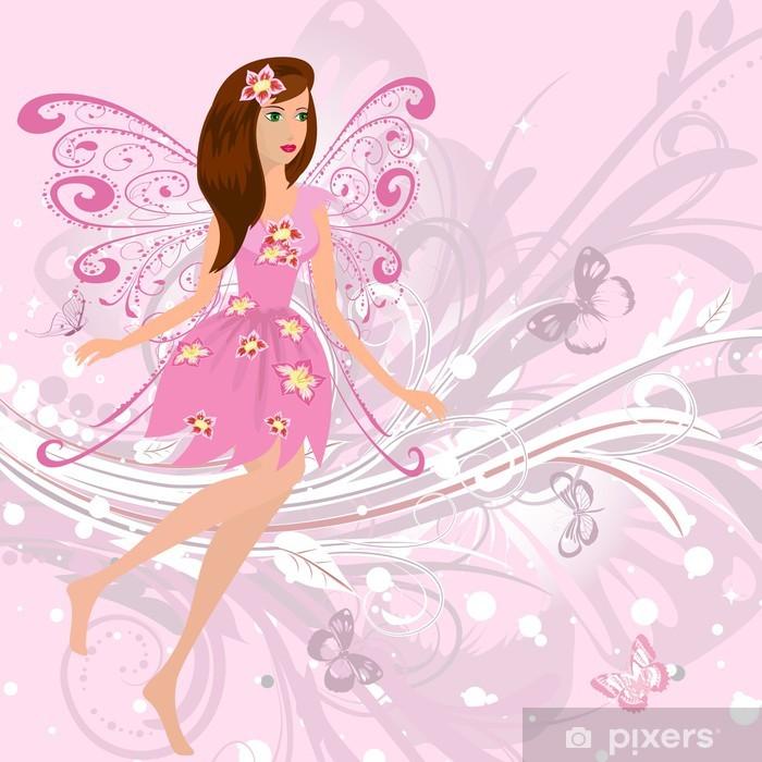 Naklejka Pixerstick Wróżka Dziewczyna na romantyczny tle kwiatu - Przeznaczenia