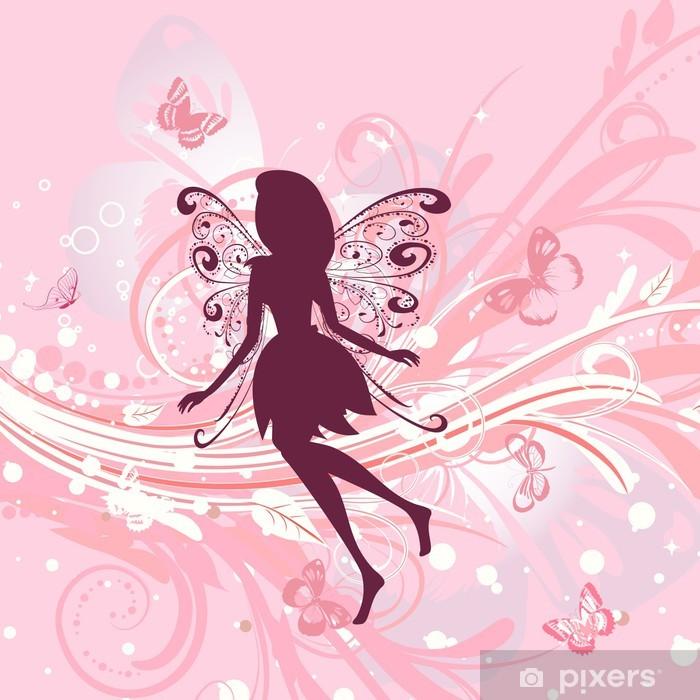 Sticker Pixerstick Fée fille sur un fond floral romantique - Styles