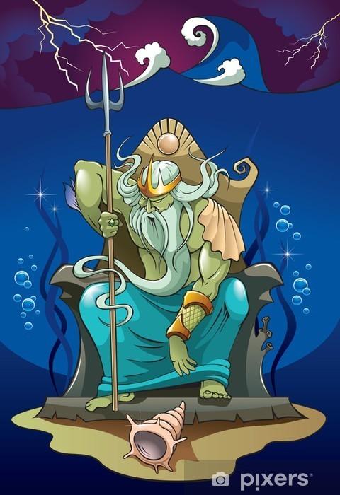 Naklejka Pixerstick Poseidon lub Neptuna, boga morza, wektor - Mężczyźni